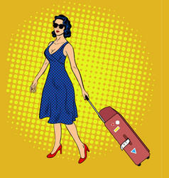 pop art lady with baggage vector image