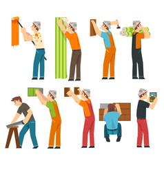 professional workers set handymen characters vector image