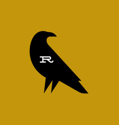 raven fat style logo mark template or icon vector image