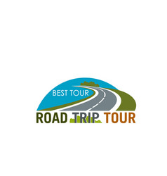 Road trip tour symbol design with coastal highway vector