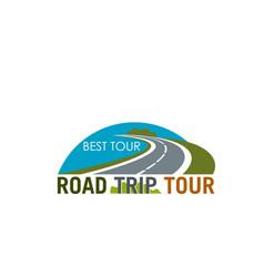 road trip tour symbol design with coastal highway vector image