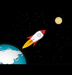 Rocket go to moon from earth vector
