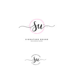 S u su initial letter handwriting and signature vector
