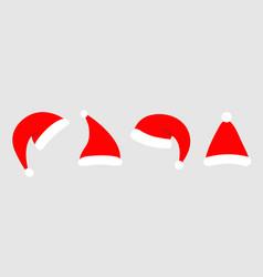 santa hat icon set line red santa claus hats cap vector image