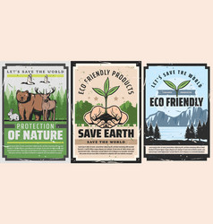 Save nature world earth eco friendly environment vector