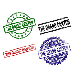 Scratched textured the grand canyon stamp seals vector