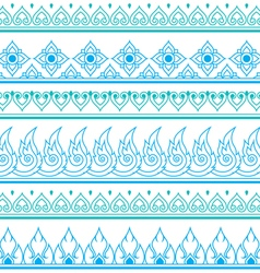 Seamless blue Thai pattern repetitive design vector