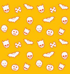 seamless pattern skulls bats pumpkins vampires vector image