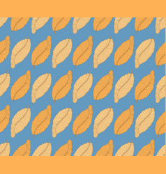 seamless pattern with orange feathers on blue vector image
