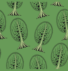 seamless tree pattern on green vector image