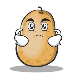 Serious potato character cartoon style vector