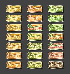 Set colorful fruits jam labels vector
