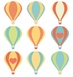 Set if colorful hot air balloons vector image