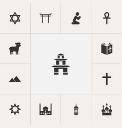 set of 13 editable faith icons includes symbols vector image vector image