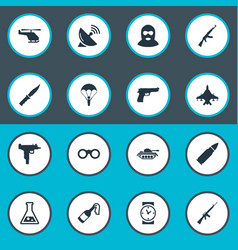 Set of 16 simple war icons can be found vector