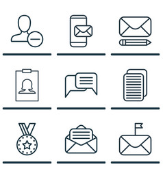 set of 9 communication icons includes internet vector image vector image