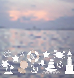 Set sea icons on seascape background vector