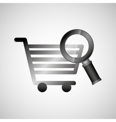 shiny shopping cart searching online commerce vector image
