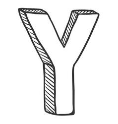 Single doodle sketch - the letter y vector