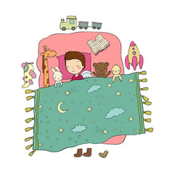 Sleeping boy baby in bed with toys time to sleep vector