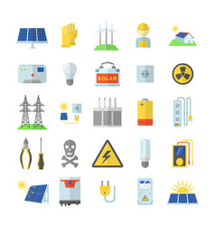 solar energy equipment icons set flat style vector image