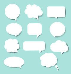 speech bubble set blue background vector image