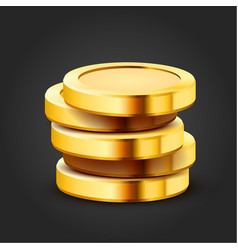 stack golden dollar coins isolated on dark vector image