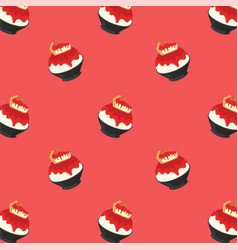 Strawberry cheese cake bingsu cartoon pattern vector