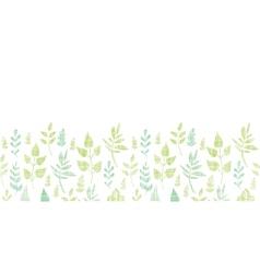 Textile textured spring leaves horizontal border vector