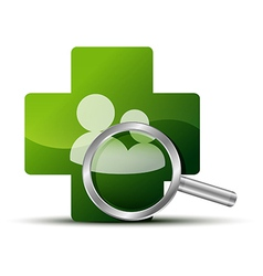 The green cross with a magnifying glass vector image