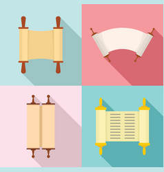 Torah scroll book bible icons set flat style vector