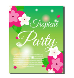 Vertical tropical banner with exotic orchid vector