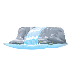 Waterfall in side view isolated vector