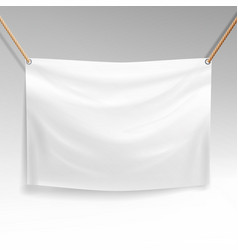 White banner with ropes realistic clear vector