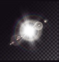 White exploded star with lens flare vector