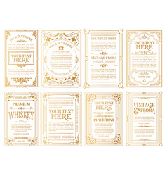 white gold-framed labels vector image