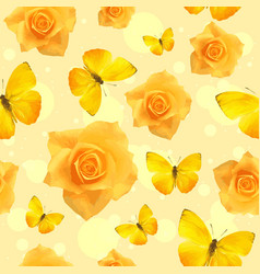 yellow flowers in bloom and flying butterflies vector image
