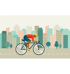 cyclist riding on bicycle on city poster vector image vector image