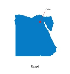 Detailed map of Egypt and capital city Cairo vector image
