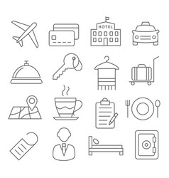 hotel line icons vector image