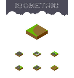 isometric road set of footpath crossroad turning vector image vector image