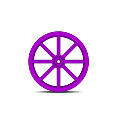 vintage wooden wheel in purple design with shadow vector image vector image