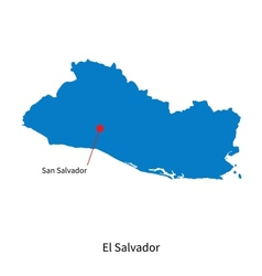 Detailed map of El Salvador and capital city San vector image vector image