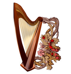 harp with flowers vector image vector image