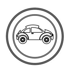 round emblem side sport car icon vector image