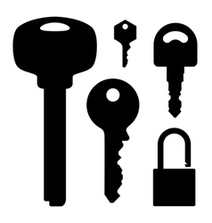 set of keys and lock vector image vector image