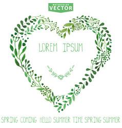 watercolor green branches heart wreathbackgroun vector image