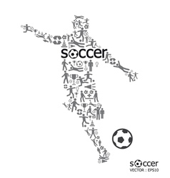 active soccer player shape with ICON soccer Sport vector image vector image