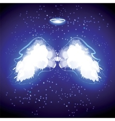 Angel nimbus and wings on black background vector image vector image