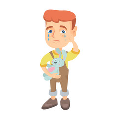 caucasian boy crying and holding toy vector image